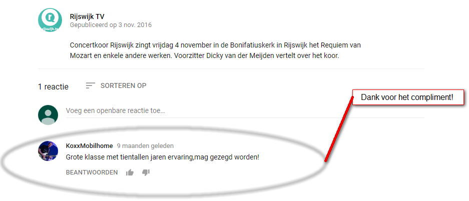 een compliment op youtube